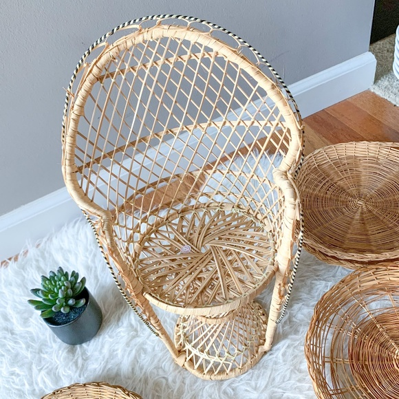 Boho Vintage Wicker Peacock Doll Chair Plant Stand
